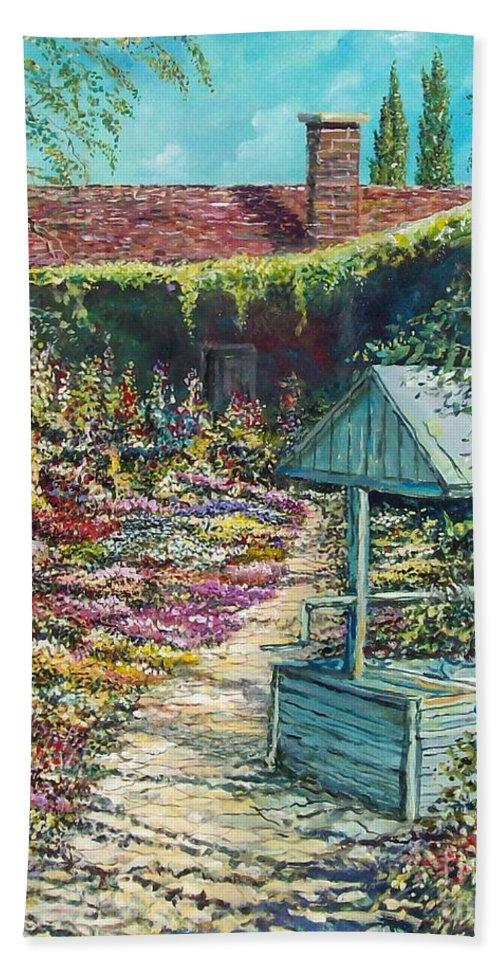 Garden Bath Towel featuring the painting Mary's Garden by Sinisa Saratlic