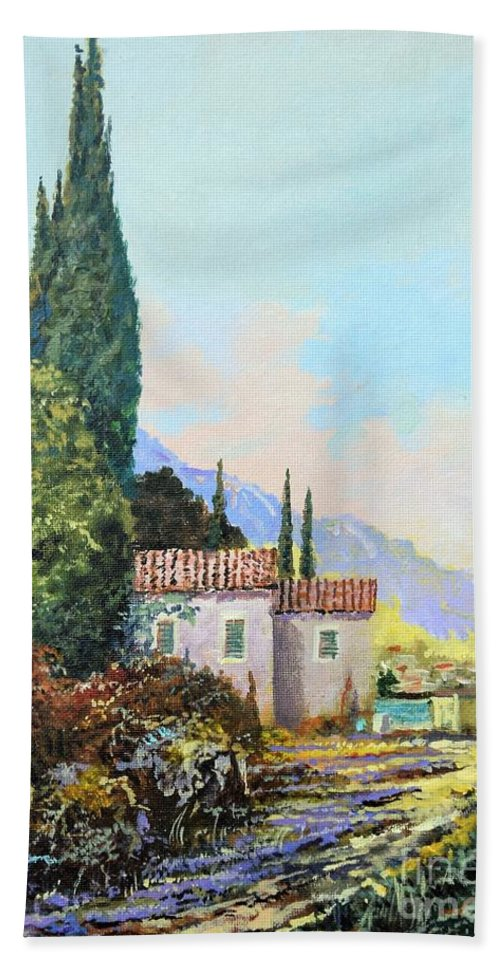 Original Painting Bath Towel featuring the painting Mediterraneo 2 by Sinisa Saratlic
