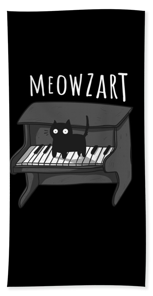 Kitten Bath Towel featuring the drawing Meowzart The Classical Music Cat Super Cool Kitty by Noirty Designs