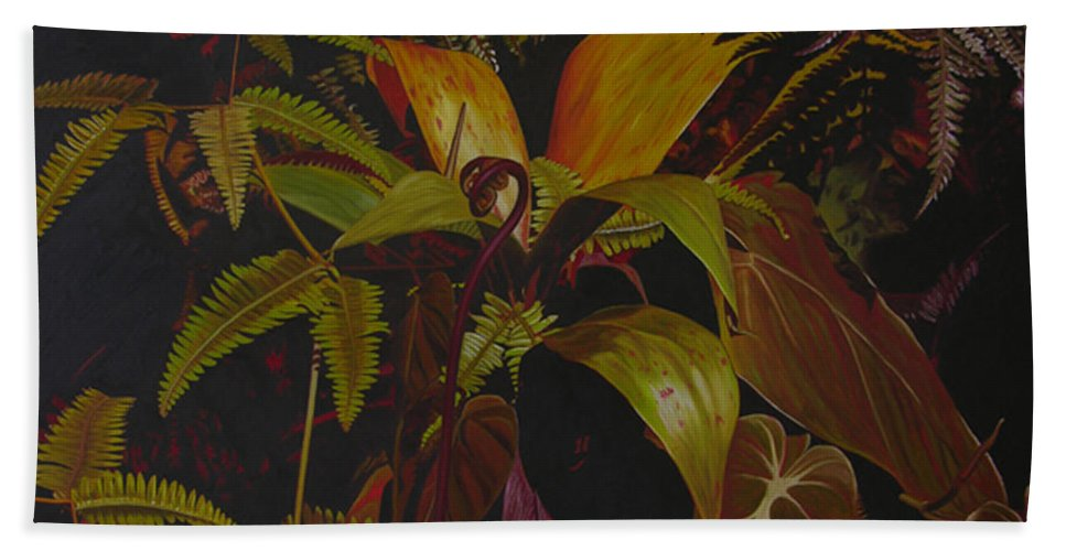 Plant Bath Towel featuring the painting Midnight in the garden by Thu Nguyen