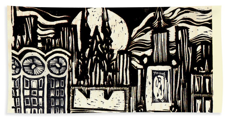 Bizarre Bath Towel featuring the mixed media Midnight Wind Over Manhattan by Seth Weaver