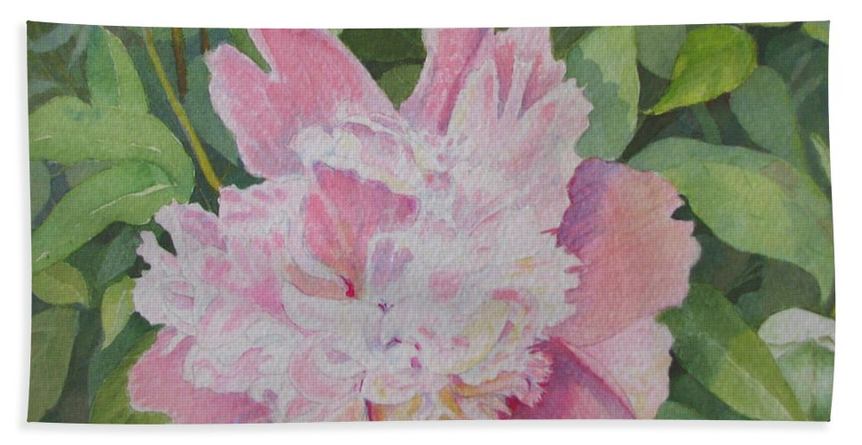 Peony Hand Towel featuring the painting Mimis Delight by Mary Ellen Mueller Legault