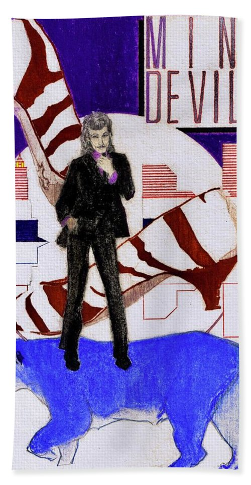 Willy Deville Hand Towel featuring the drawing Mink DeVille - Le Chat Bleu by Sean Connolly