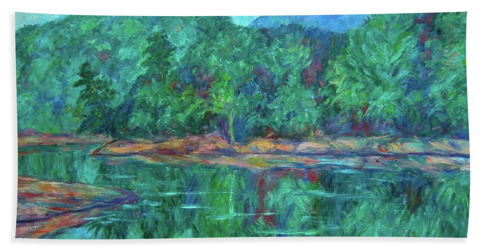 Landscape Bath Sheet featuring the painting Misty Morning at Carvins Cove by Kendall Kessler
