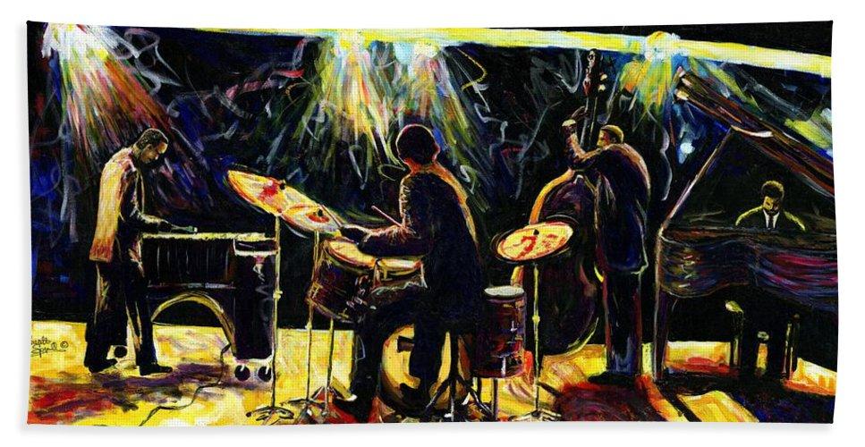Everett Spruill Hand Towel featuring the painting Modern Jazz Quartet take2 by Everett Spruill
