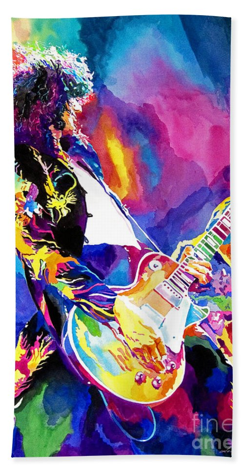 Jimmy Page Artwork Bath Towel featuring the painting Monolithic Riff - Jimmy Page by David Lloyd Glover