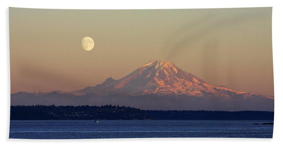 3scape Bath Sheet featuring the photograph Moon Over Rainier by Adam Romanowicz