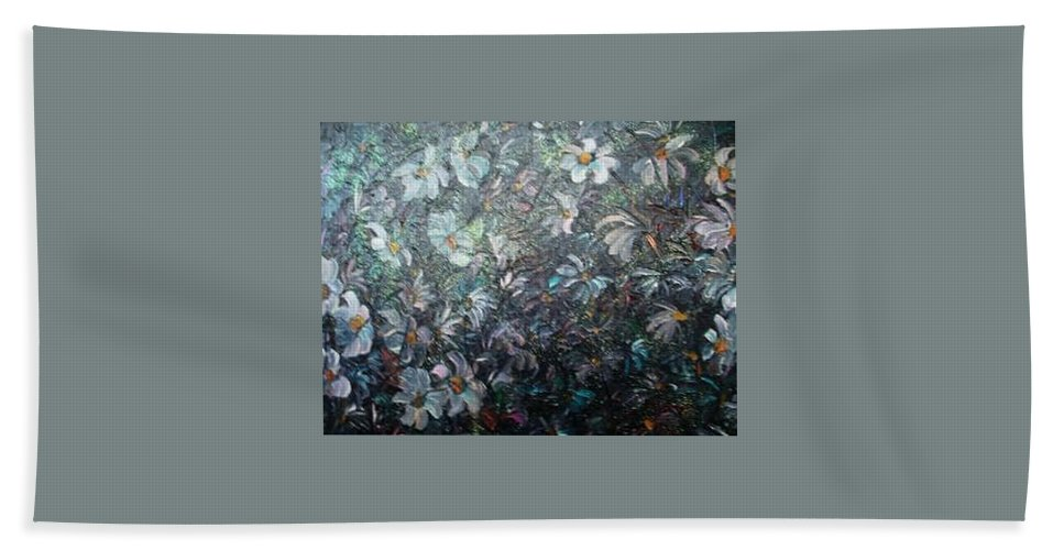 Floral Daisies Abstract Bath Sheet featuring the painting Moonlight And Daisies.. by Karin Dawn Kelshall- Best