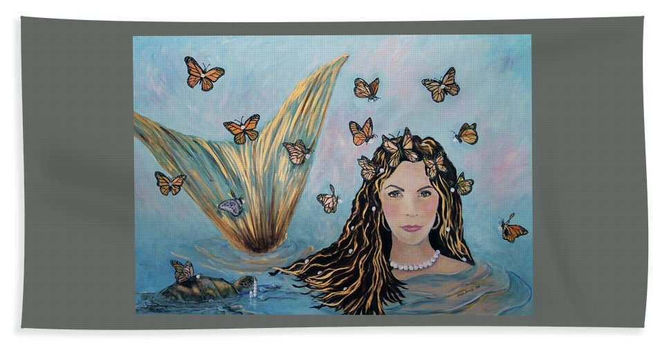 Mermaid Bath Towel featuring the painting More Precious Than Gold by Linda Queally