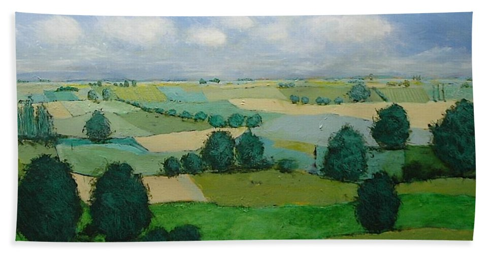 Landscape Hand Towel featuring the painting Morning Calm by Allan P Friedlander