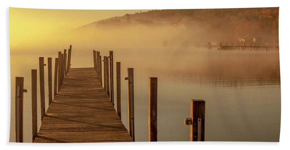 Morning Bath Towel featuring the photograph Morning On The Lake Dockside by Trevor Slauenwhite