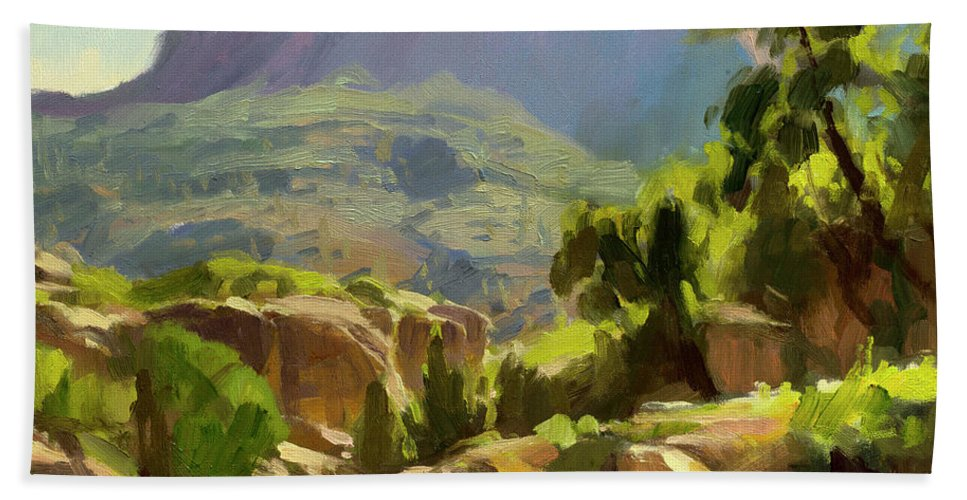 Zion Bath Towel featuring the painting Mountain of Spires by Steve Henderson