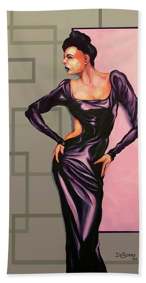 Ms Jane: Original Creation By Lloyd Deberry Bath Towel featuring the painting MS Jane by Lloyd DeBerry
