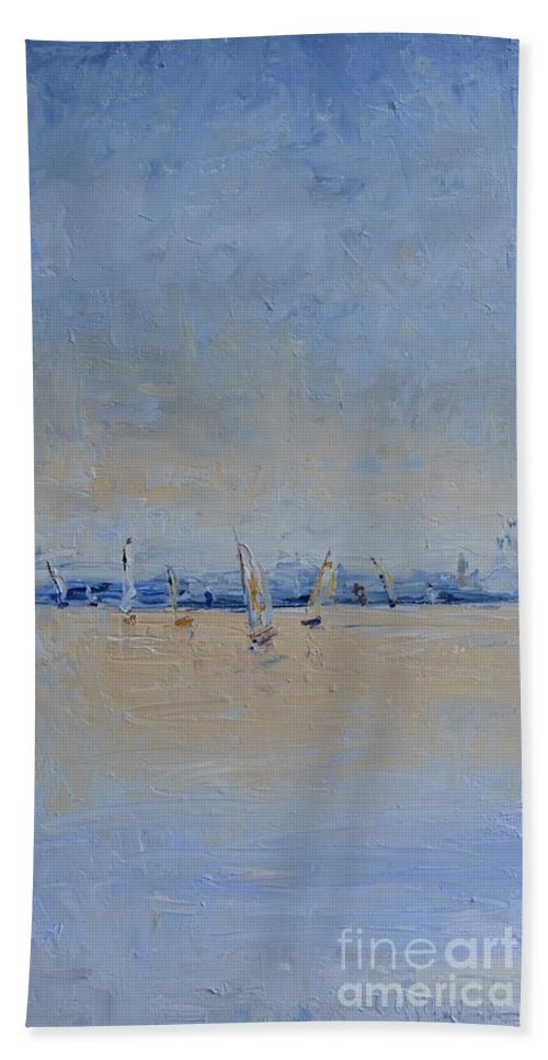 Sailing Hand Towel featuring the painting Multi Sail 3 by Patricia Caldwell