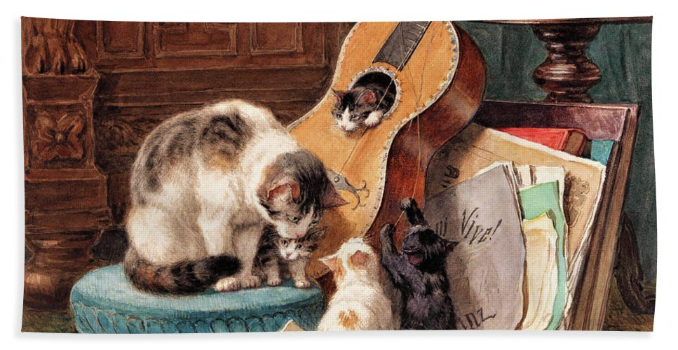 Musician Bath Towel featuring the painting Musician - Digital Remastered Edition by Henriette Ronner-Knip