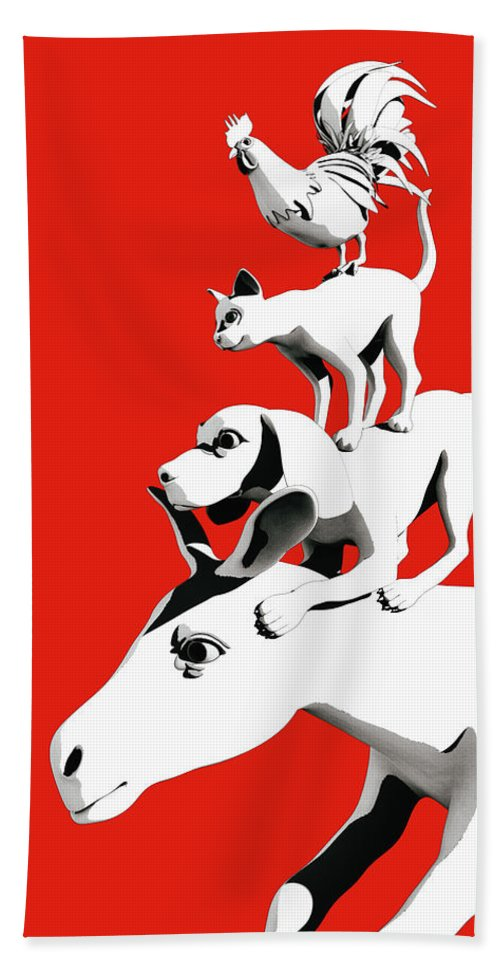 Donkey Hand Towel featuring the digital art Musicians of Bremen_red by Heike Remy