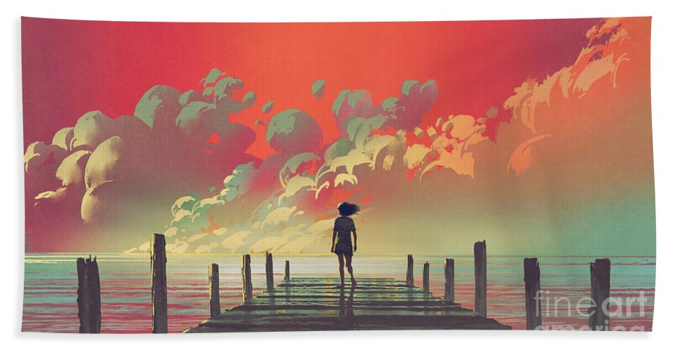 Illustration Bath Towel featuring the painting My Dream Place by Tithi Luadthong