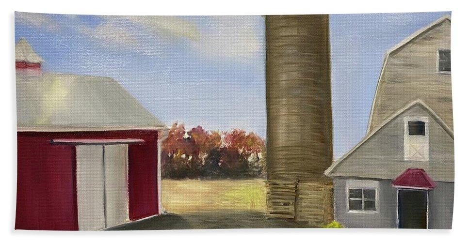 Plein Aire Bath Towel featuring the painting Nancys Farm by Sheila Mashaw