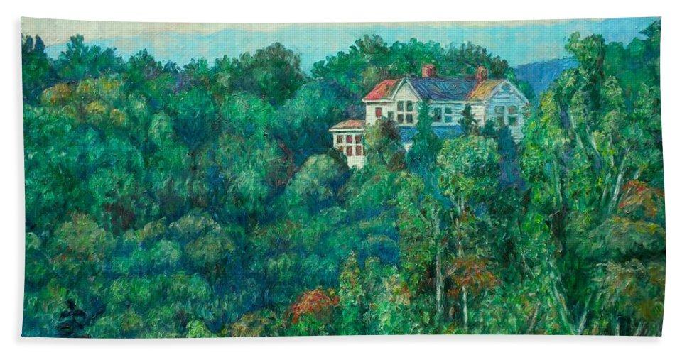 Landscape Bath Towel featuring the painting Near Memorial Bridge by Kendall Kessler