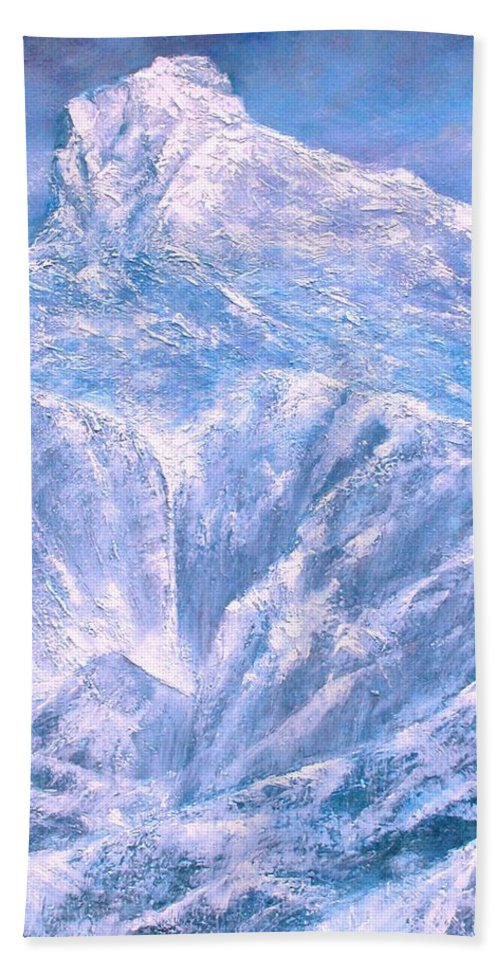 Landscape Bath Sheet featuring the painting Near the Tetons by Jim Gola