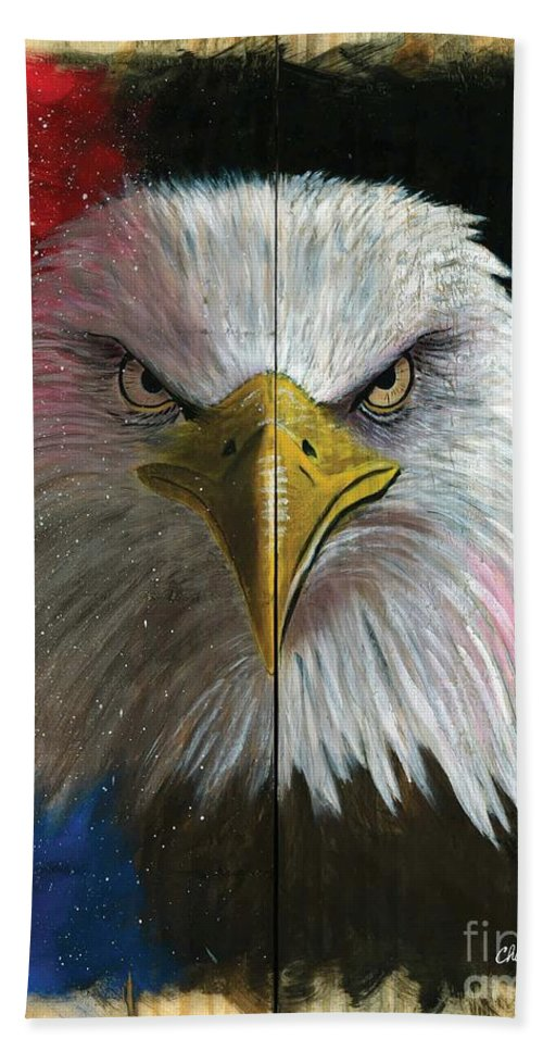 American Eagle Art Hand Towel featuring the painting Never Forget by Chris Naggy
