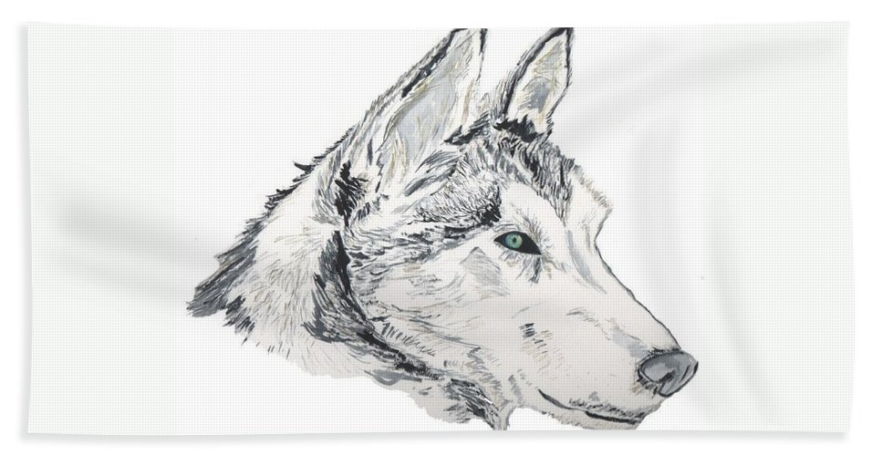 Wolf Bath Sheet featuring the painting Noble Soul by Crystal Hubbard
