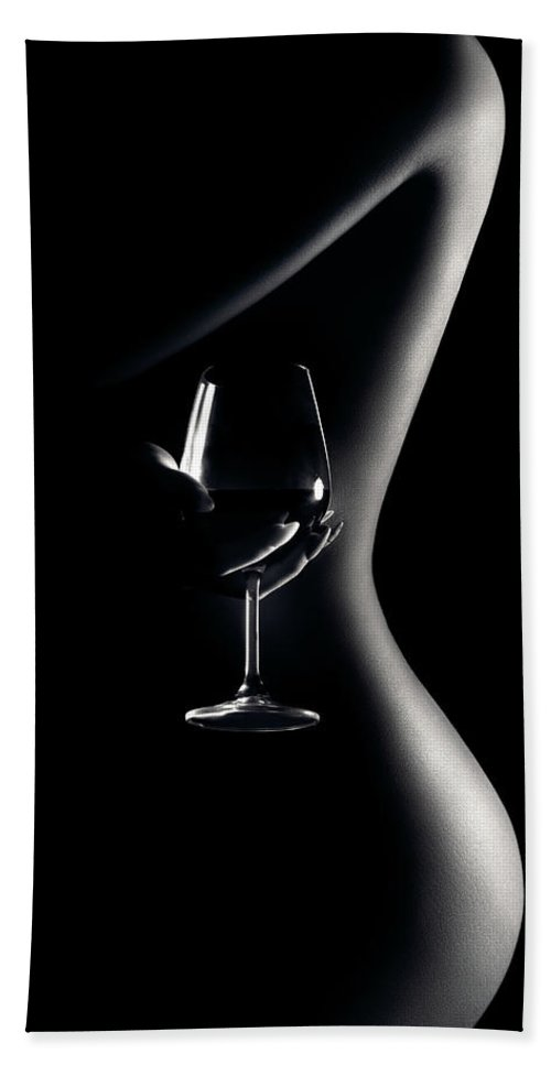 Woman Hand Towel featuring the photograph Nude woman red wine 3 by Johan Swanepoel