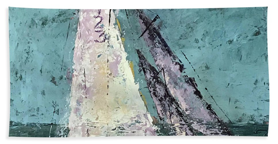 Sailing Hand Towel featuring the painting Number 423 by Patricia Caldwell
