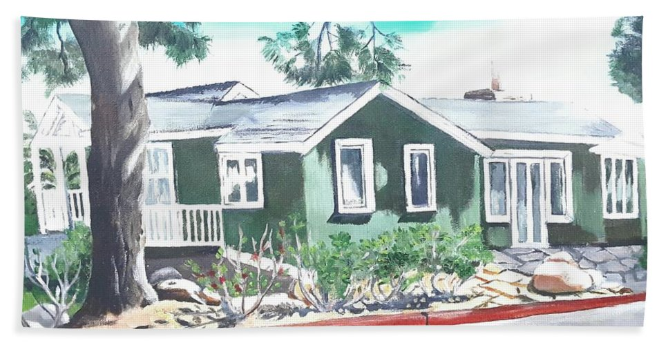 Landscape Hand Towel featuring the painting Ocean Front House by Andrew Johnson