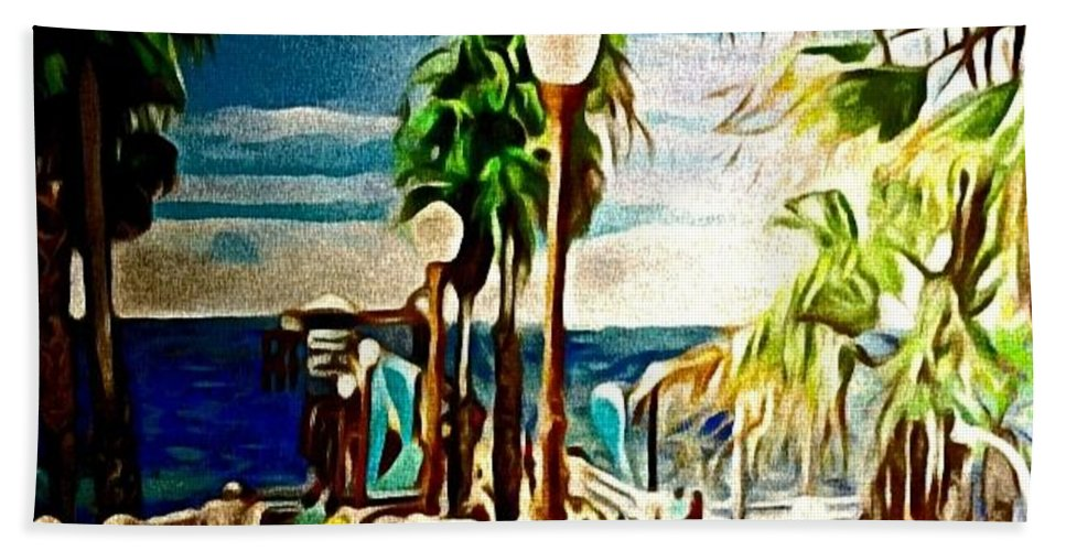 Landscape Bath Towel featuring the painting Oceanside Peir by Andrew Johnson
