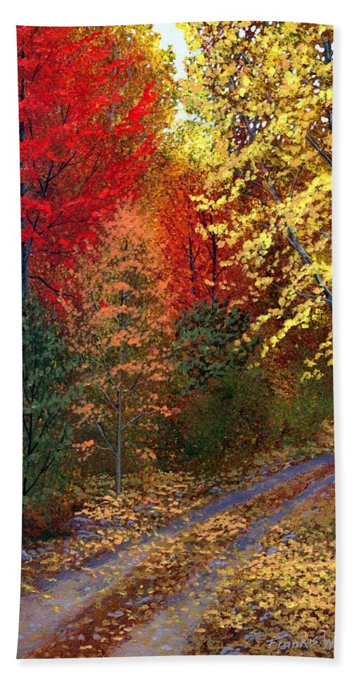 Landscape Bath Towel featuring the painting October Road by Frank Wilson