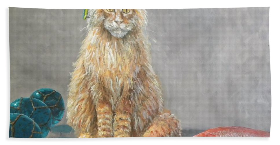 Cat Bath Towel featuring the painting 'old Salt' The Fisher Cat by Paul Emig