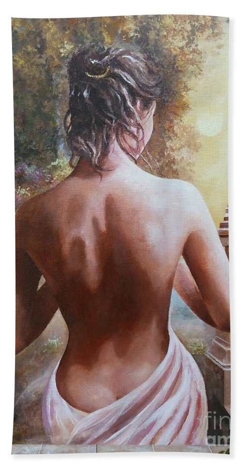 Female Figure Bath Towel featuring the painting On The Doorway by Sinisa Saratlic