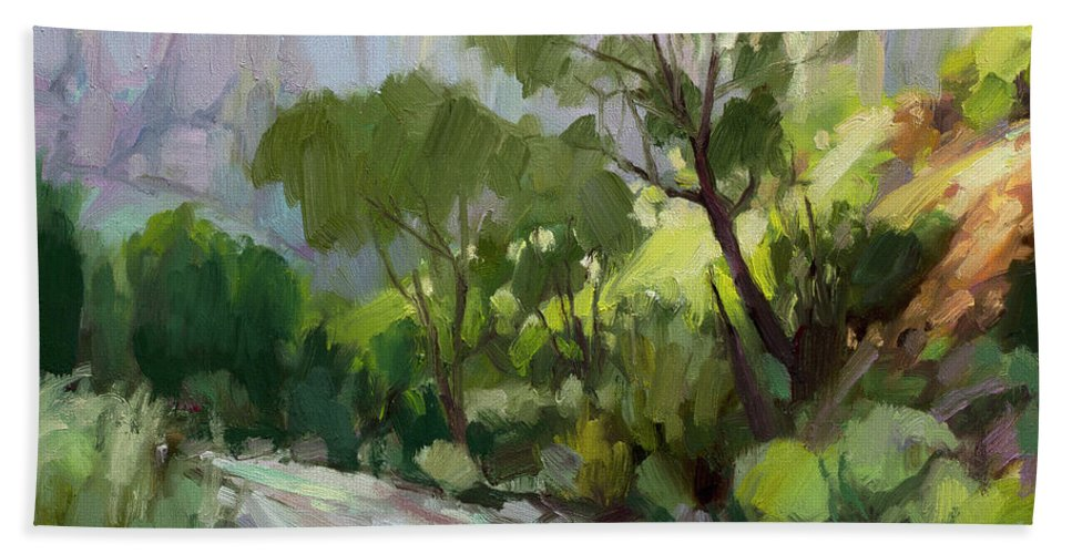 Zion Bath Towel featuring the painting On the Temple Road by Steve Henderson