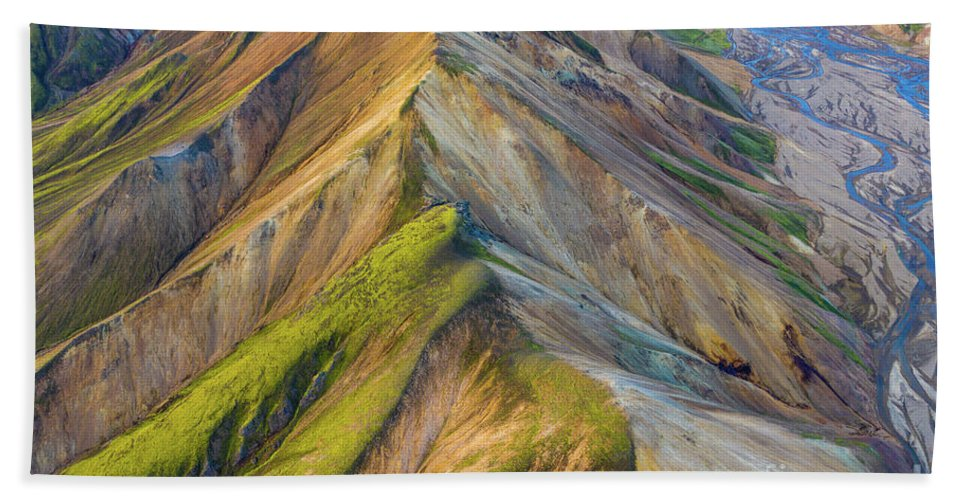 Iceland Hand Towel featuring the photograph Over Iceland Barmur Ridge Golden Light by Mike Reid