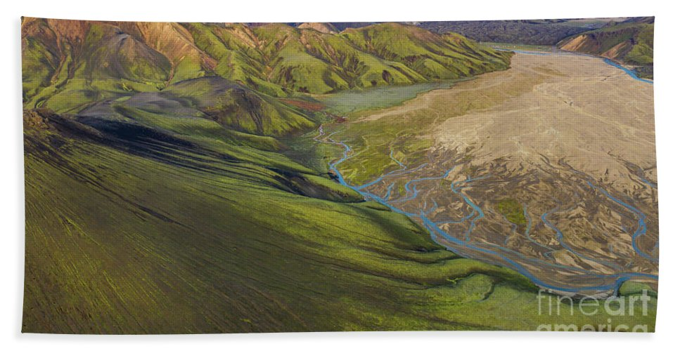 Iceland Hand Towel featuring the photograph Over Iceland Slopes Of The Rhyolite Highlands by Mike Reid