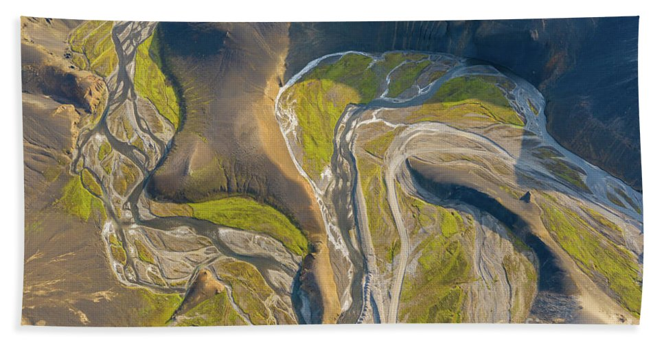 Iceland Hand Towel featuring the photograph Over Iceland Winding River by Mike Reid