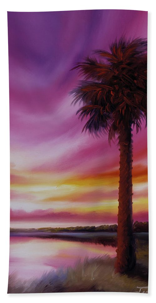 Sunrise Hand Towel featuring the painting Palmetto Moon by James Christopher Hill