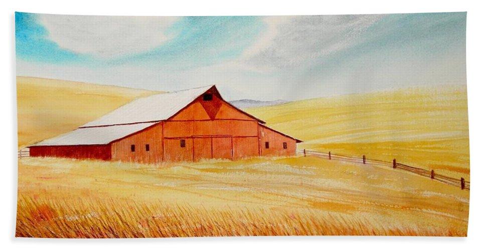 Wheat Bath Towel featuring the painting Palouse Air by Leonard Heid