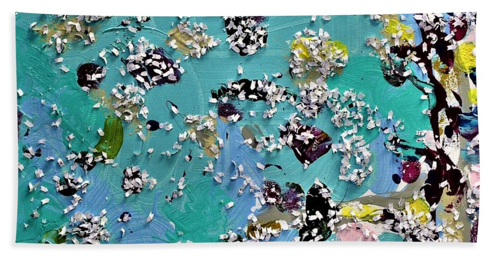 Blue Bath Towel featuring the painting Party Time by Pam Roth O'Mara