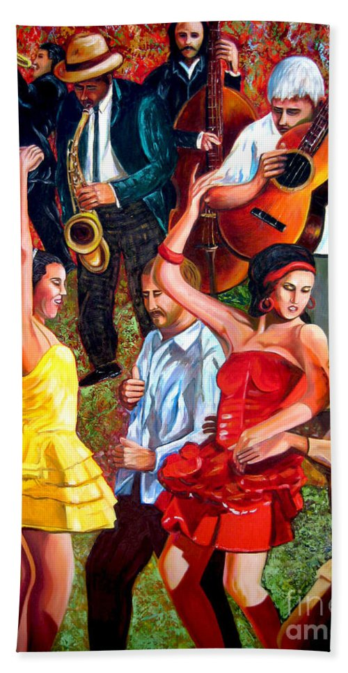 Cuban Art Bath Towel featuring the painting Party times by Jose Manuel Abraham