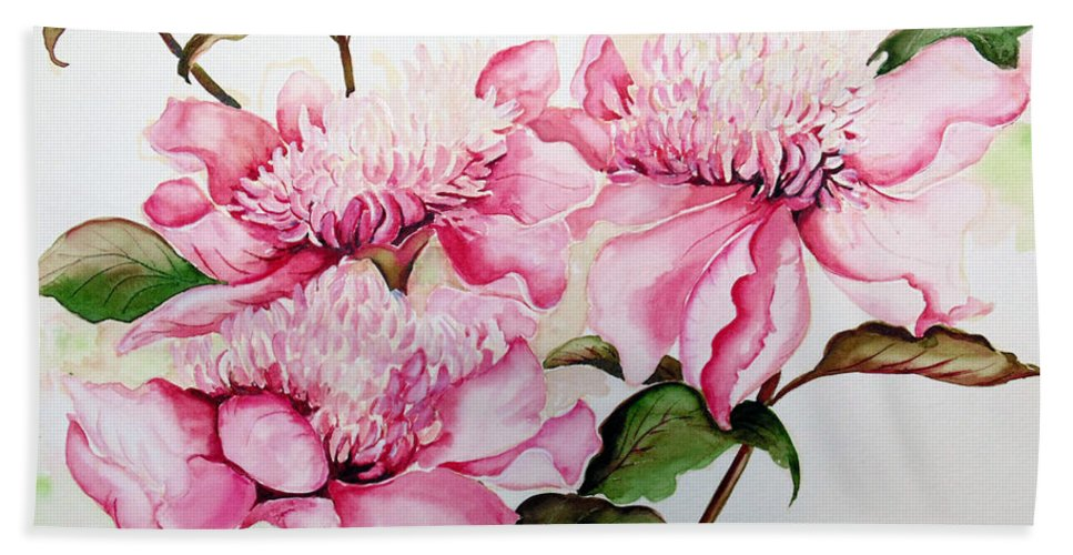 Flower Painting Flora Painting Pink Peonies Painting Botanical Painting Flower Painting Pink Painting Greeting Card Painting Pink Peonies Hand Towel featuring the painting Peonies by Karin Dawn Kelshall- Best