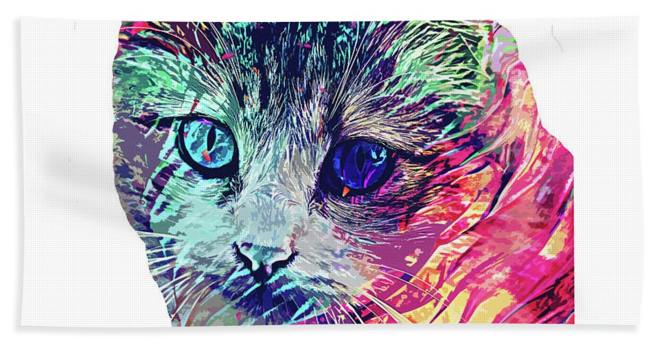 Cat Bath Towel featuring the digital art Persian abstract cat by Trindira A