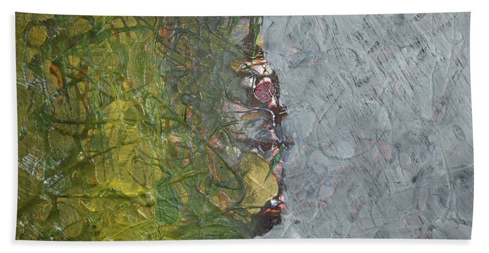 Green Bath Towel featuring the painting Perspectives by Pam Roth O'Mara