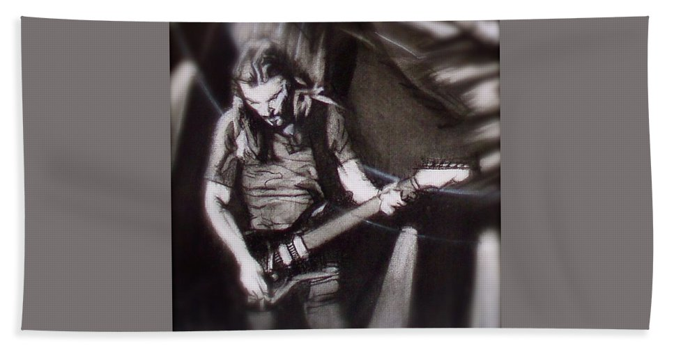 Charcoal Pencil On Paper Bath Sheet featuring the drawing Pink Floyd Live - David Gilmour 2 by Sean Connolly