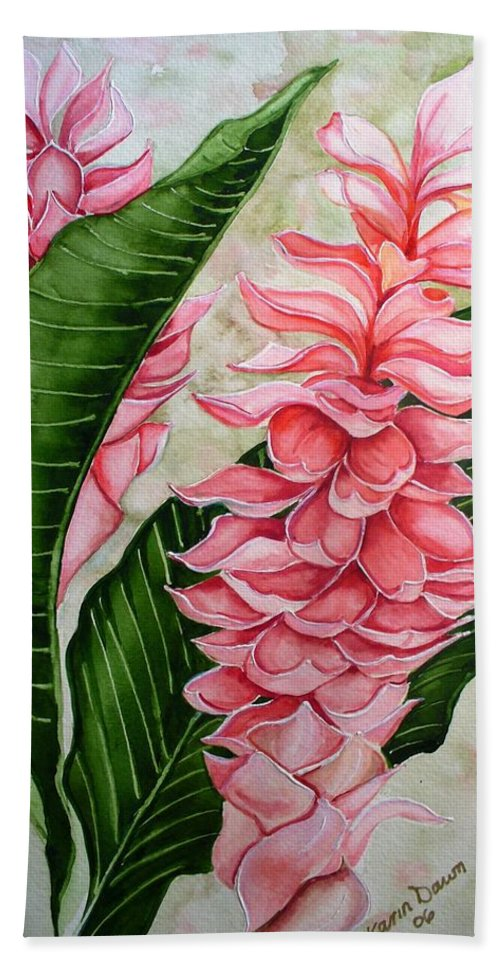 Flower Painting Floral Painting Botanical Painting Ginger Lily Painting Original Watercolor Painting Caribbean Painting Tropical Painting Bath Sheet featuring the painting Pink Ginger Lilies by Karin Dawn Kelshall- Best