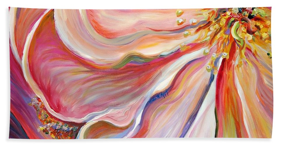 Pink Poppy Bath Towel featuring the painting Pink Poppy by Nadine Rippelmeyer