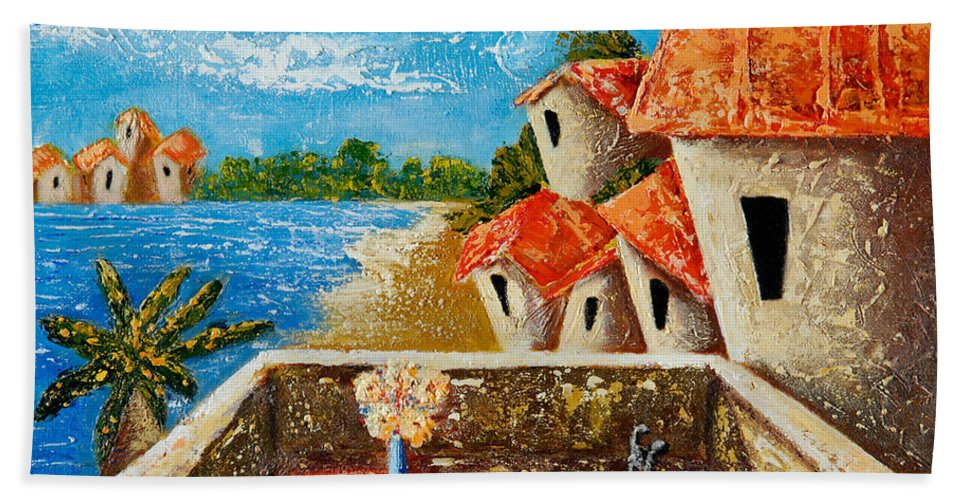 Landscape Hand Towel featuring the painting Playa Gorda by Oscar Ortiz