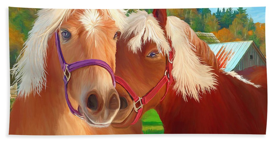 Ponies Hand Towel featuring the painting Ponies Mike and Sue by David Wagner