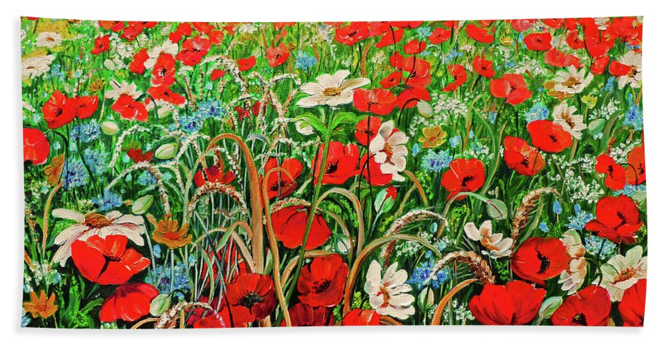 Floral Painting Flower Painting Red Poppies Painting Daisy Painting Field Poppies Painting Field Poppies Floral Flowers Wild Botanical Painting Red Painting Greeting Card Painting Bath Towel featuring the painting Poppies In The Wild by Karin Dawn Kelshall- Best